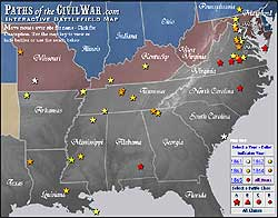 Paths Of The Civil War - Us-civil-war-map-of-battles